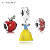 Pandulaso Snow White's Dress Apple Glass Beads Fit Fashion Charms Bracelets Women Silver 925 Color Charms for DIY Jewelry Making