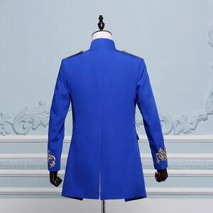 Image 3 - PYJTRL Men Double breasted England Style Long Slim Fit Blazer Design Wedding Groom Suit Jacket Mens Stage Wear Singer Costume