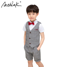 ActhInK 2019 New Arrival 3Pcs Teen Boys Wedding Clothes Summer Plaid Best Suit Overalls Coat Tie for