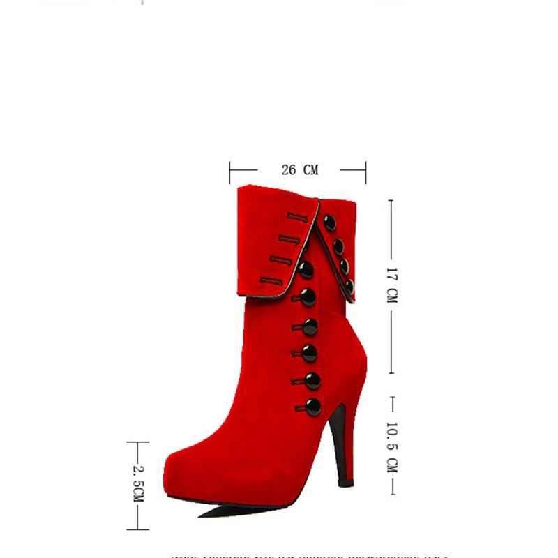 Feiyitu Moda Kadın Botları 2018 Yüksek Topuklu Kadın Rahat Platformu Marka Kadın Ayakkabı Sonbahar Kış Botas Zapatos siyah kırmızı 42 43
