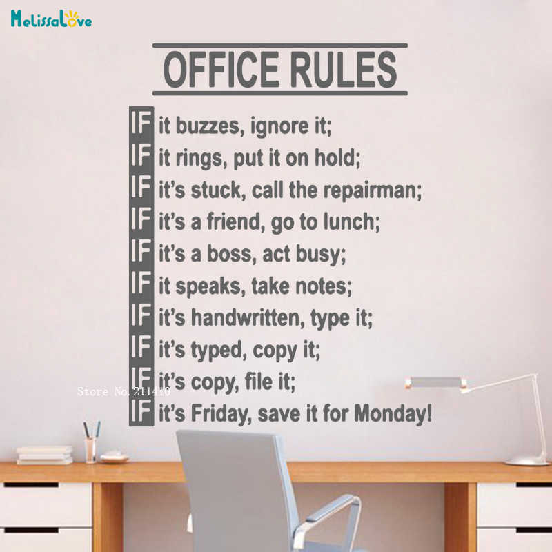 Office Rules Wall Decal Funny Teamwork Inspirational Vinyl ...