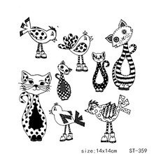 ZhuoAng Lovely Speckle Pattern Cat Bird Clear Stamps For DIY Scrapbooking/Card Making/Album Decorative Silicon Stamp Crafts