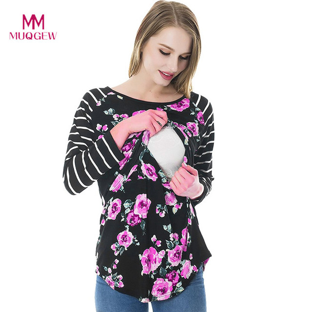 9e1fff380ab Women Mom Pregnant Nursing Maternity Long Sleeved Striped Floral Print Blouse  Clothes Multi-Functional Breastfeeding Clothes
