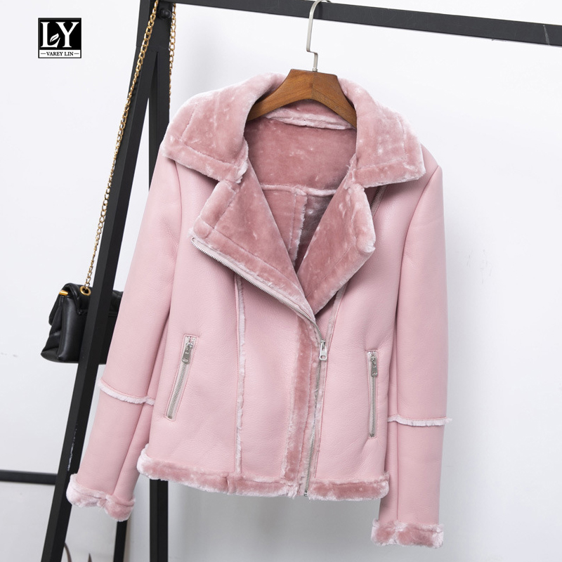 Ly Varey Lin New Women Winter Faux Lamb   Leather   Jacket Black Pink Punk Lambs Wool Fur Collar Jacket Female Warm Thick Outerwear