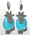"Fashion Jewelry 925 Silver Blue Turquoise Flower Marcasite Earrings 11/2"" -Bride jewelry free shipping"