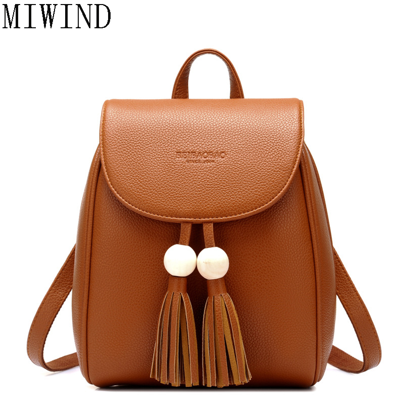 MIWIND Fashion Women Backpack with Tassel College PU Leather Women School Backpack TBB663