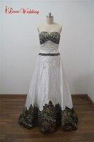 iLoveWedding Real Picture Casamento Wedding Dress Beaded Special Satin Vestido De Noiva Court Train Back Lace Up Robe De Mariage