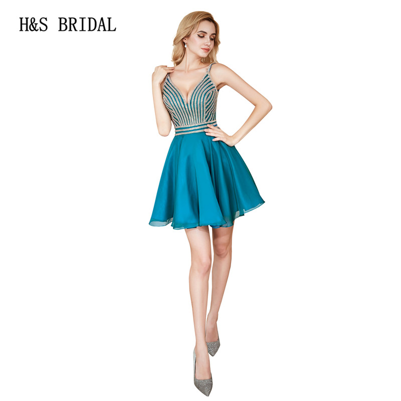 H&S Bridal 2018 Short   prom     dresses   candy colors v neck girls evening party cocktails   dresses   cheap robe de soiree