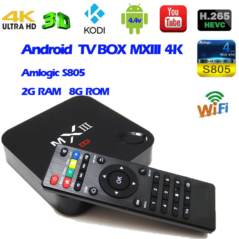 Android 4.4 TV Box  MXIII 4k Amlogic S805 Quad Core 2G 8G Memory Smart Set-top  Box Pre-installed Kodi Xbmc Full Loaded  Mini PC 2017 newest cs918 4 core smart tv box 2g 16g 1080p wifi mini pc fully loaded for android 4 4