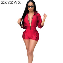 56cc3917d1 ZKYZWX Sexy Bodysuit Long Sleeve Shorts Rompes Jumpsuit Women Clothes  Overalls One Piece Front Zipper Casual