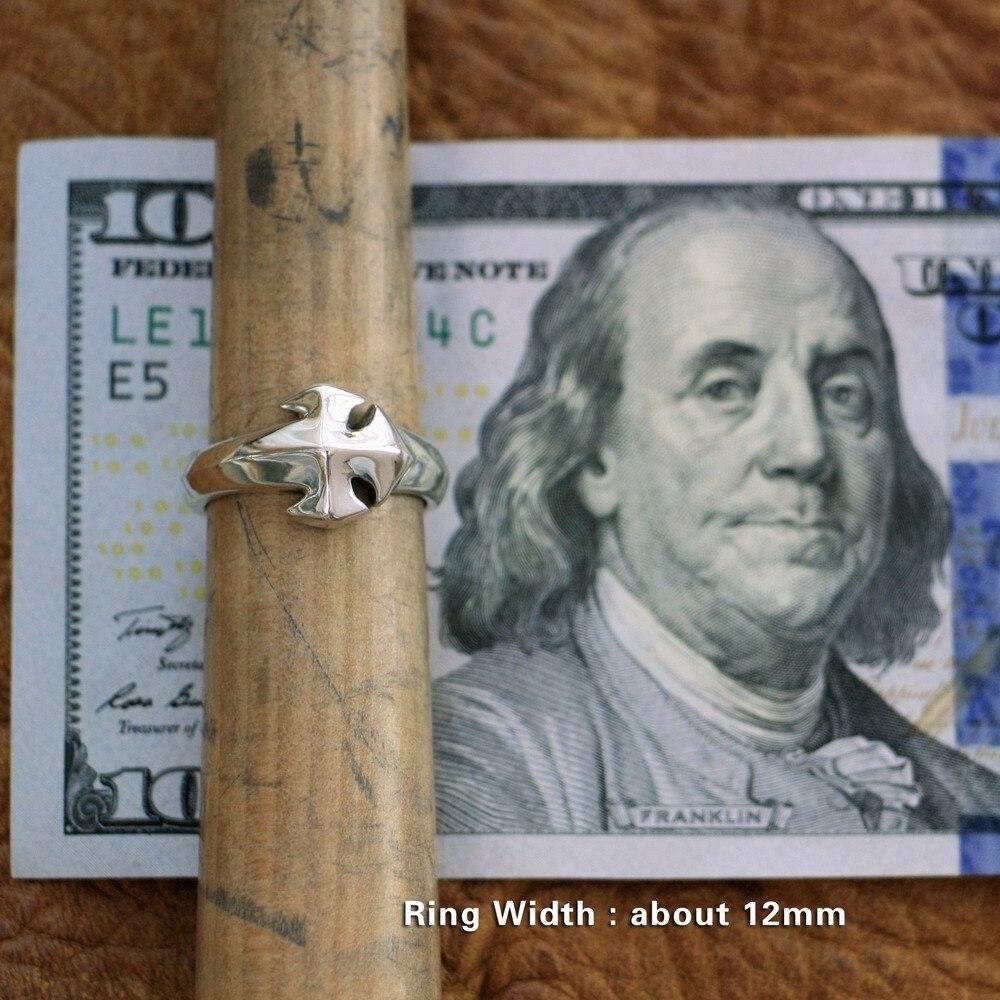 LINSION 925 bague Simple en argent Sterling avec croix pour hommes, bague de motard TA110, taille américaine 7 ~ 15 - 5
