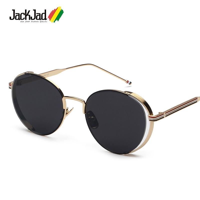 a18e302b1e6057 JackJad 2017 Nouveau Cru De Mode Ronde En Métal Cadre lunettes de Soleil  Marque Classique Trois