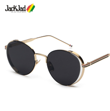 2016 New Fashion Vintage Round Metal Frame Sunglasses Brand Classic Three Color Stripe Design Sun Glasses Oculos De Sol S1908