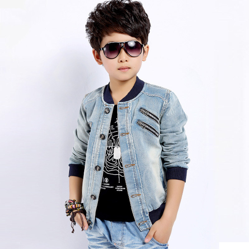 ФОТО 2015 newest fashion autumn winter children coat boys denim jacket with zipper accessory jeans spring coat for a boy hot sale