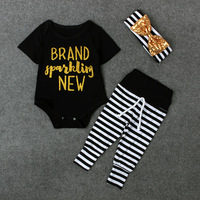 Free Shipping Wholesale Newest Toddlers Sequin Letters Black Rompers Bow Hair Band Striped Trousers 3pc Set