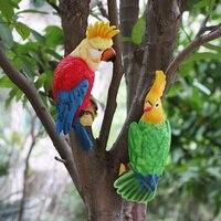 Creative garden bird animal decoration crafts pendant garden outdoor simulation parrot resin glass steel sculpture