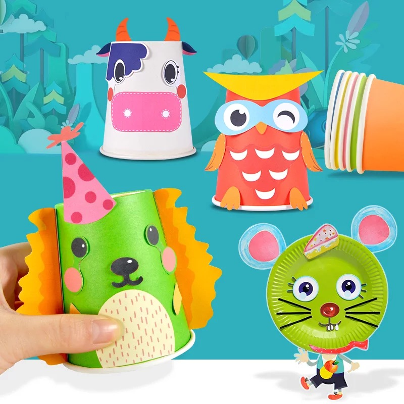 12PC DIY Handmade Color Disposable Paper Cup Children Hand Material Kid Fine Arts Creative Stuff Birthday Wedding Party Supplies
