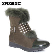 XAXBXC Retro British Style Leather Oxfords Warm Boots Short Boots Women Shoes Rivet Round Toe Handmade