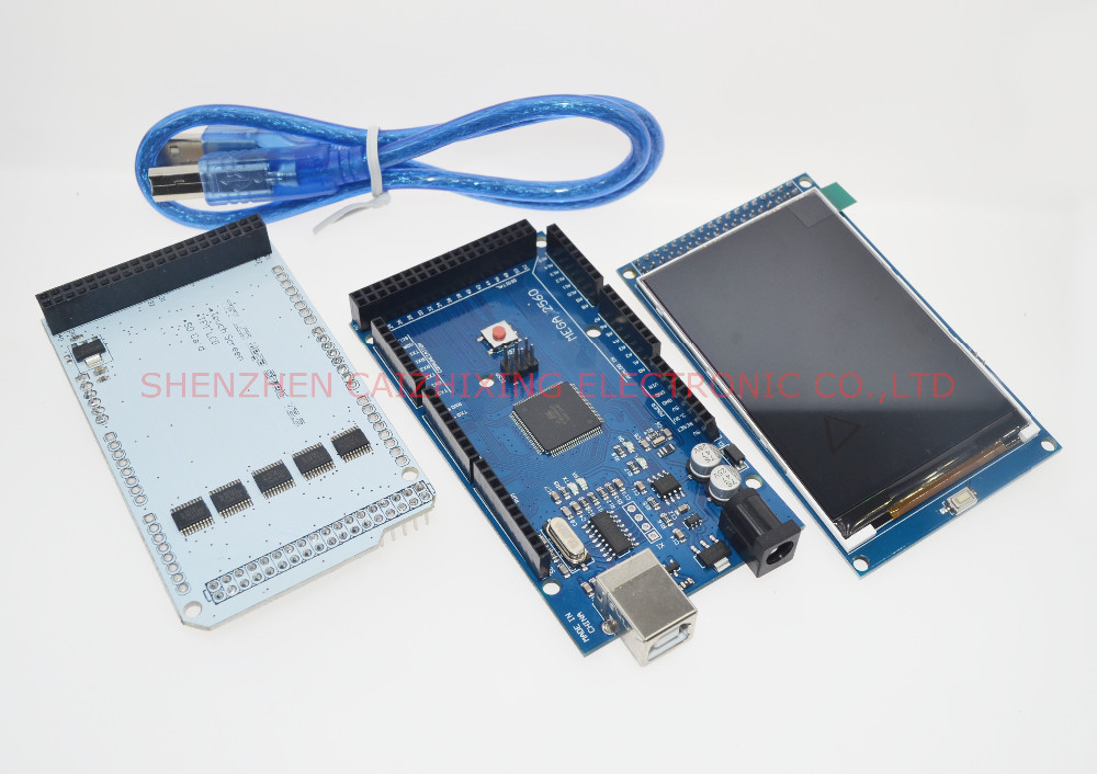 3.2 TFT LCD Touch + TFT 3.2 inch Shield + Mega 2560 R3 with usb cable for Arduino kit