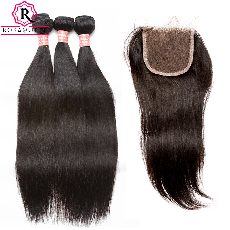 Malaysian Human Hair Bundles With Closure Straight 4 Pcs/Lot Hair Wave Bundles Add 1 Piece Lace Closure Rosa Queen Remy Hair