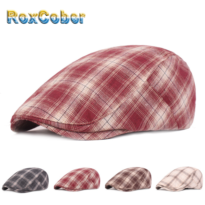 RoxCober  Vintage Cotton Berets Plaid Newsboy Caps Flat Cap Chapeau For Men Women Ivy Cap Gatsby Hat Visors Peaky Blinder Hats