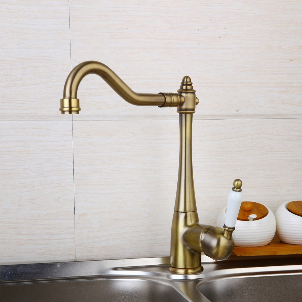 Stock Deck Mounted Single Handle Hole Bathroom Sink Mixer Faucet Antique Brass Hot and Cold Water
