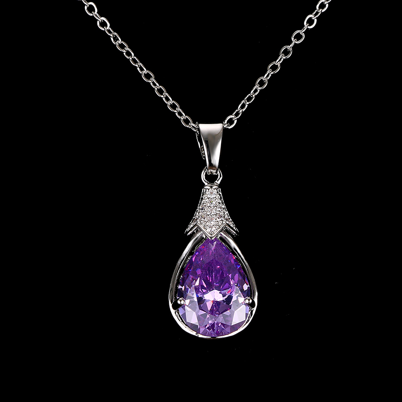 Emmaya Fashion Cheap Purple Purple Crystal Վզնոցներ և - Նորաձև զարդեր - Լուսանկար 1