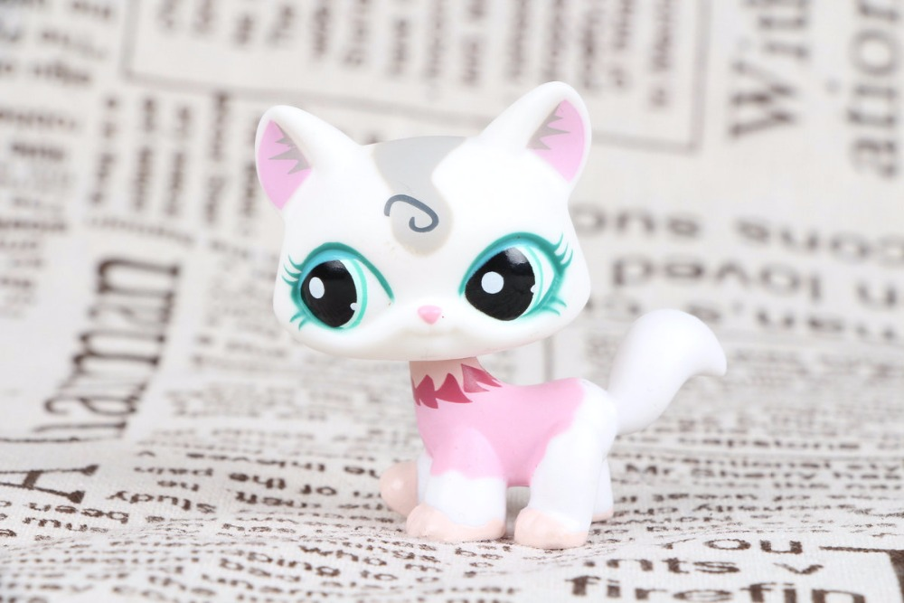 New Pet Collection Figure LPS #1699 Walking Cat Pink White Felina Merchant Blue Eyes Kids Toys lps pet shop toys rare black little cat blue eyes animal models patrulla canina action figures kids toys gift cat free shipping