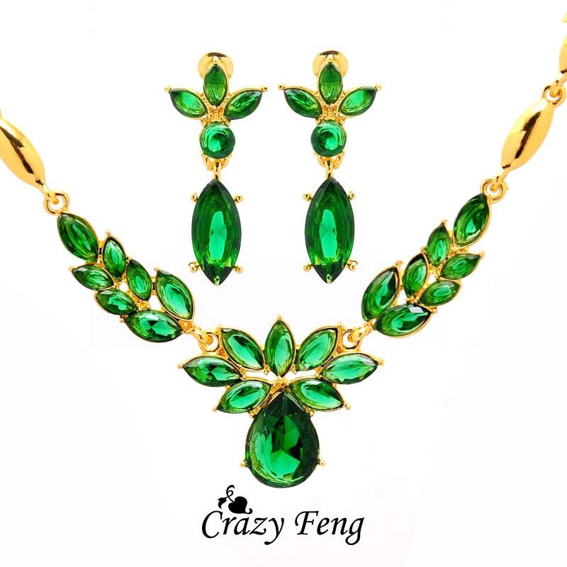 3 couleurs femmes couleur or fleur forme bijoux de fiançailles ensemble CZ cristal pendentif Collier boucles d'oreilles bijoux ensembles Collier Femme