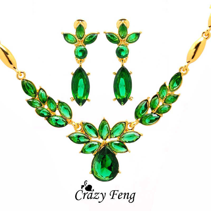 3 Colors Women's Gold Color Flower Shape Engagement Jewelry Set CZ Crystal pendant Necklace Earrings Jewelry Sets Collier Femme