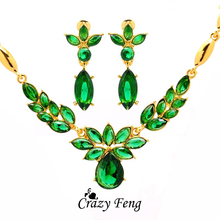 Women's 18k Yellow Gold Plated Austrian Crystal 3 colors CZ Diamond Flower Necklace+Earrings Wedding Jewelry Sets Free shipping 2018 new arrival exaggerated big necklace and earrings jewelry sets austrian crystal for wedding or party ethnic free shipping
