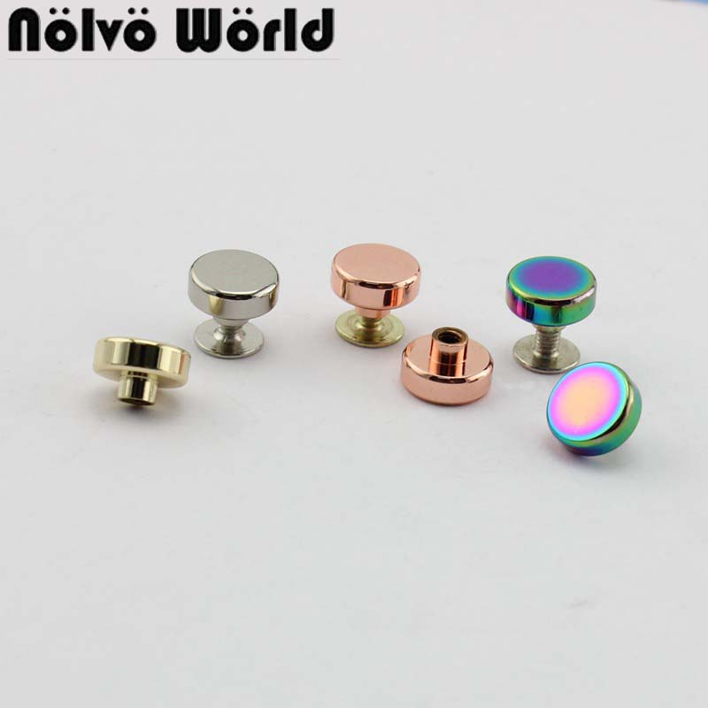 50pcs 10*2.5mm High Quality Button Round Head Rivet Stud For Shoes, DIY 100% Copper Gold Metal Screw Rivet