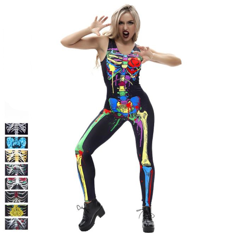 2018 Halloween Role-Playing New Women's Bodysuit Tights Large Size Vest Casual Wear Ladies Multi-Color Perspective Jumpsuit