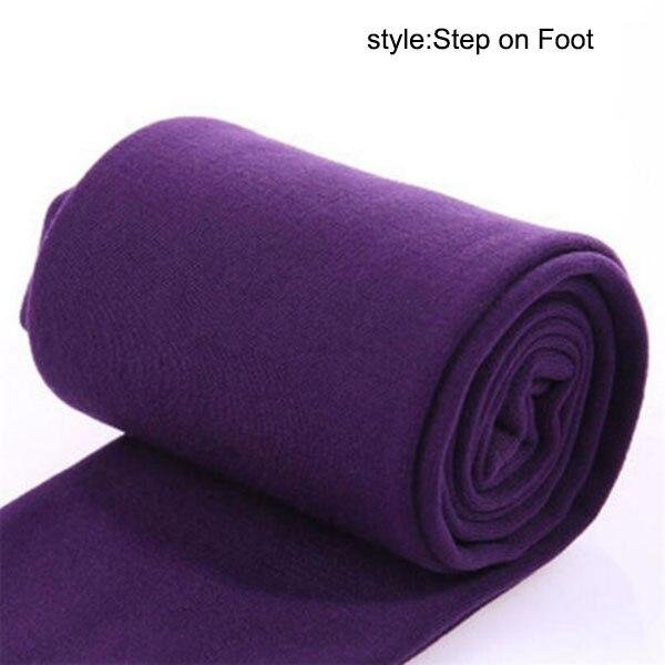 Осень зима горячая распродажа Новые горячие женские теплые флисовые зимние эластичные Леггинсы теплые флисовые облегающие теплые брюки MSK66 - Цвет: Purple  Step on Foo