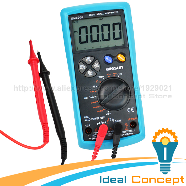 True-RMS Multimeter USB Interface Tester AC/DC Current Voltage  Resistance Capacitance Diode Temperature Duty Cycle  usb interface multimeter tester test true rms ac dc current voltage resistance capacitance diode temperature duty cycle meter