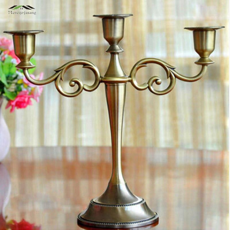 Candelabros Portavelas de alta calidad de aleación de Zinc con soporte de 3 brazos plateados/dorados de Metal caliente