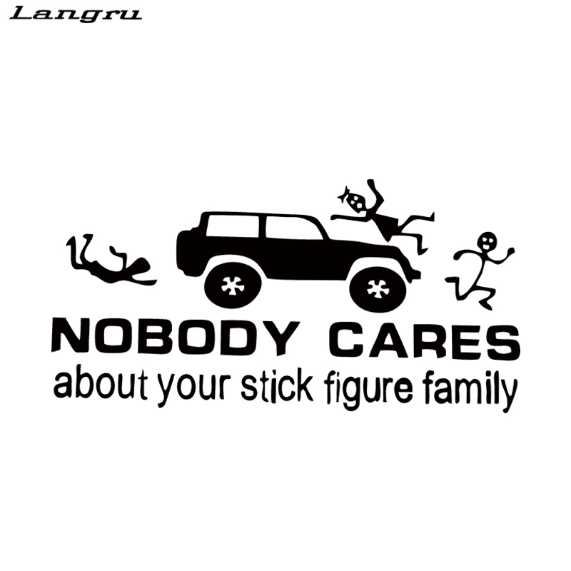 Langru Hot Sale Funny Vinyl Car Stickers Nobody Cares