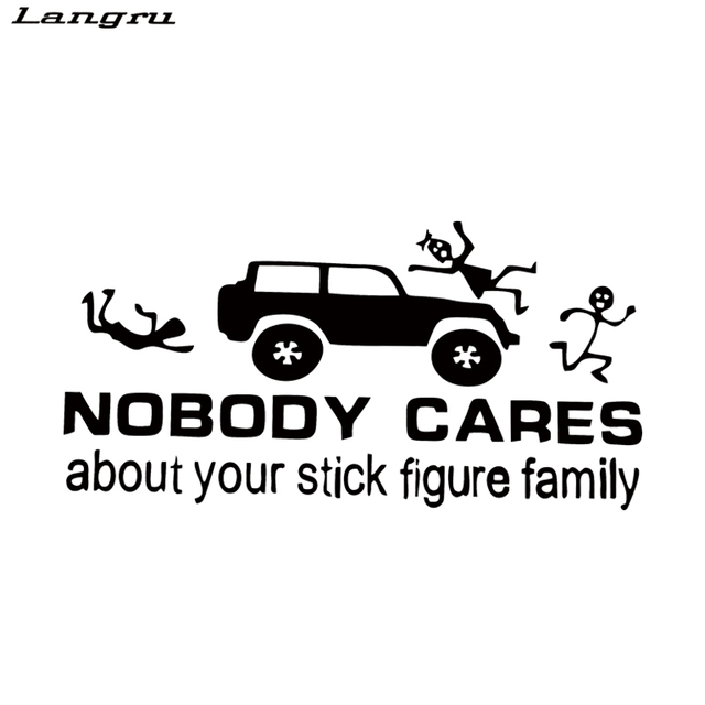 Langru hot sale funny vinyl car stickers nobody cares about your stick figure family car styling