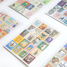4pcs/set Retro folding stamps sticker album and diary notebook DIY stickers decorative colorful stickers