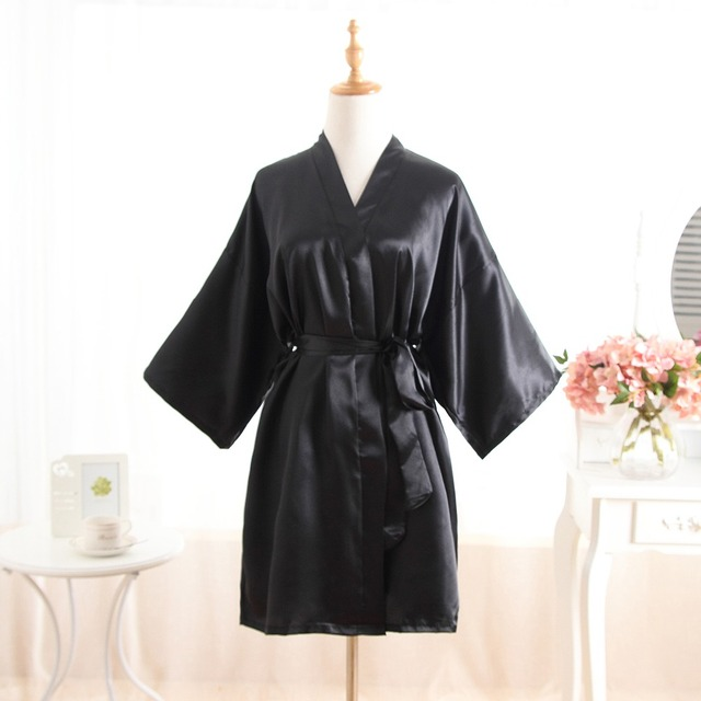 357292e037 Women Silk Bridesmaid Bride Robe Sexy Short Satin Wedding Kimono Robes  Sleepwear Nightgown Dress Woman Bathrobe