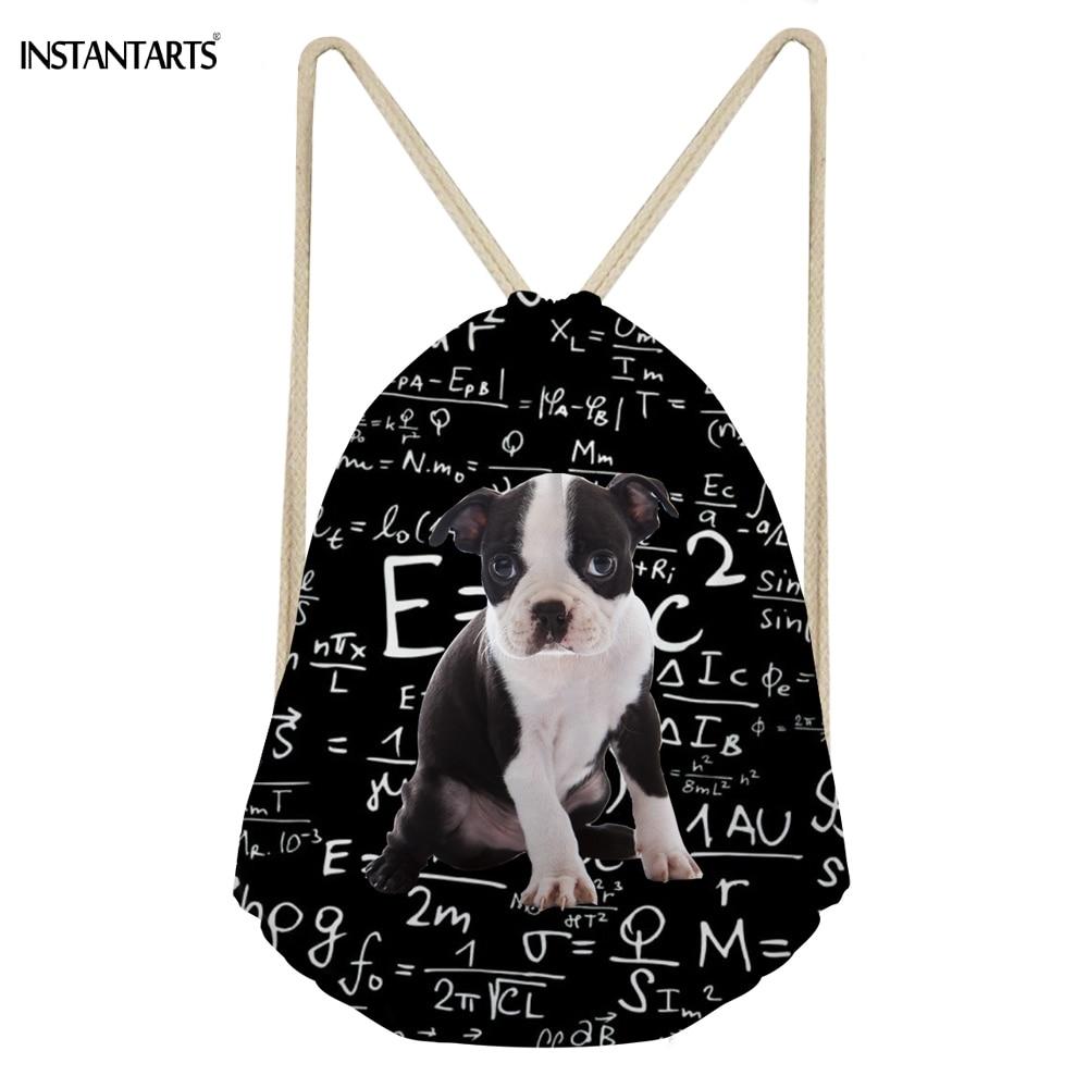 INSTANTARTS милая собака Бостон терьер я люблю математике печати девушка Drawstring сумки Повседневное школьников рюкзаки Softback Сумка для хранения