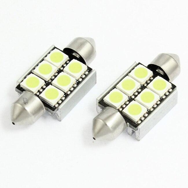 TOYL 2 шт 38 мм 5050 6 СМД Белый Фестона светодиодные ошибка canbus лампы