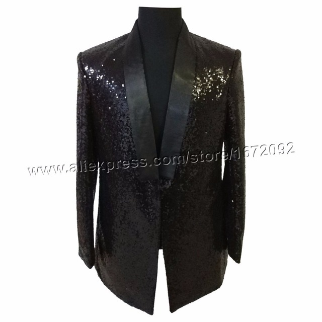 Sequin Blazer Longue Veste Hommes Homme Noir Masculino wCqRF5B