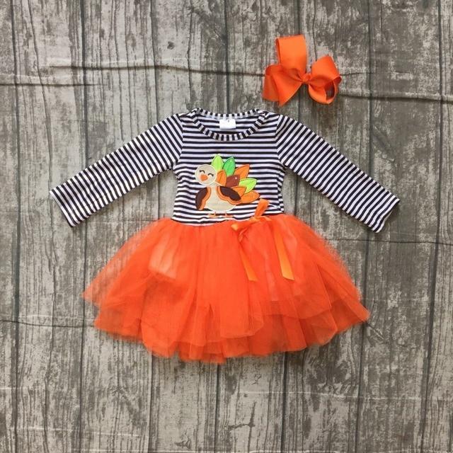 c6dcb49702e43 2018 Thanksgiving dress black stripes turkey embroidered orange veil dress  kids wear girls boutique clothing with bow