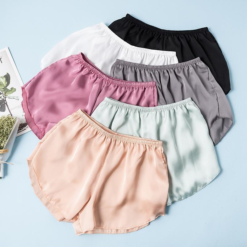 Woman Summer Shorts Silk Satin Breathable Shorts Under Skirts Casual Underpants Loose Ladies Shorts