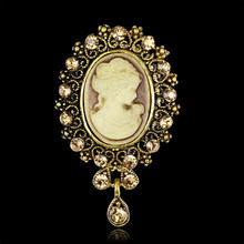 Lady Vintage Cameo Victorian Style Wedding Party Women Pendant Brooch Pin(China)