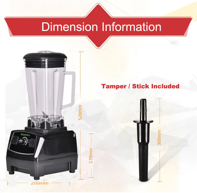RU ONLY 3HP 2200W BPA Free 2L Top Quality Commercial Grade Blender Mixer Juicer High Power Food Processor Ice Smoothie Bar Fruit 4