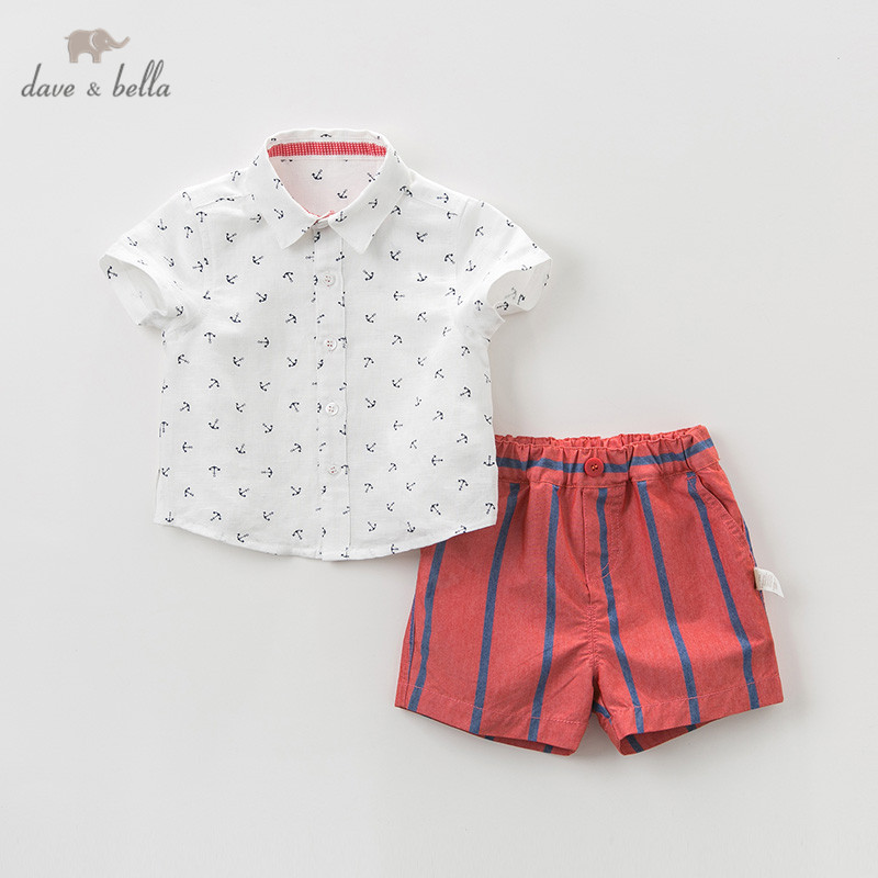DB10748 Dave bella summer baby boys clothing sets fashion children  print suits  infant high quality clothes boys outfit
