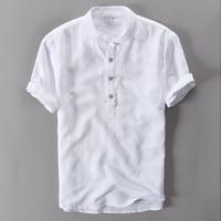 Linen Cotton Fashion Men Shirt White Solid Casual Shirts Men Brand Clothing Shirt Men Camisa Masculina
