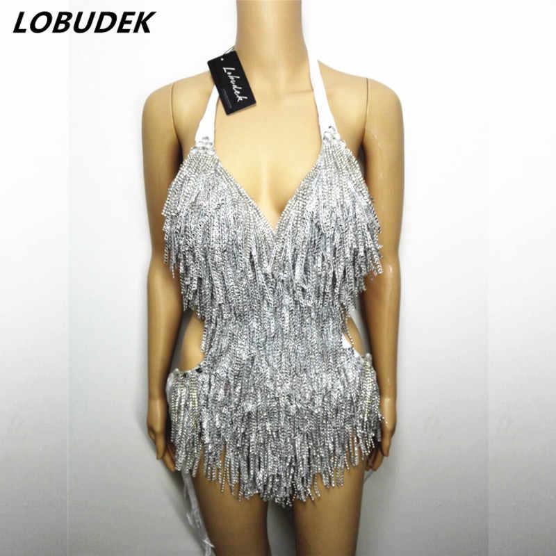 Sexy kobiet srebrne kryształy body z frędzlami kostium piosenkarz dj tancerz Bar klub nocny pokaż ubrania sceniczne Backless Fringe body